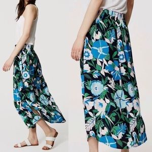[Loft] Tropical Jungle Print Midi Skirt